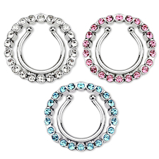 Circle with Multi Paved Gem Clip On Nipple Rings