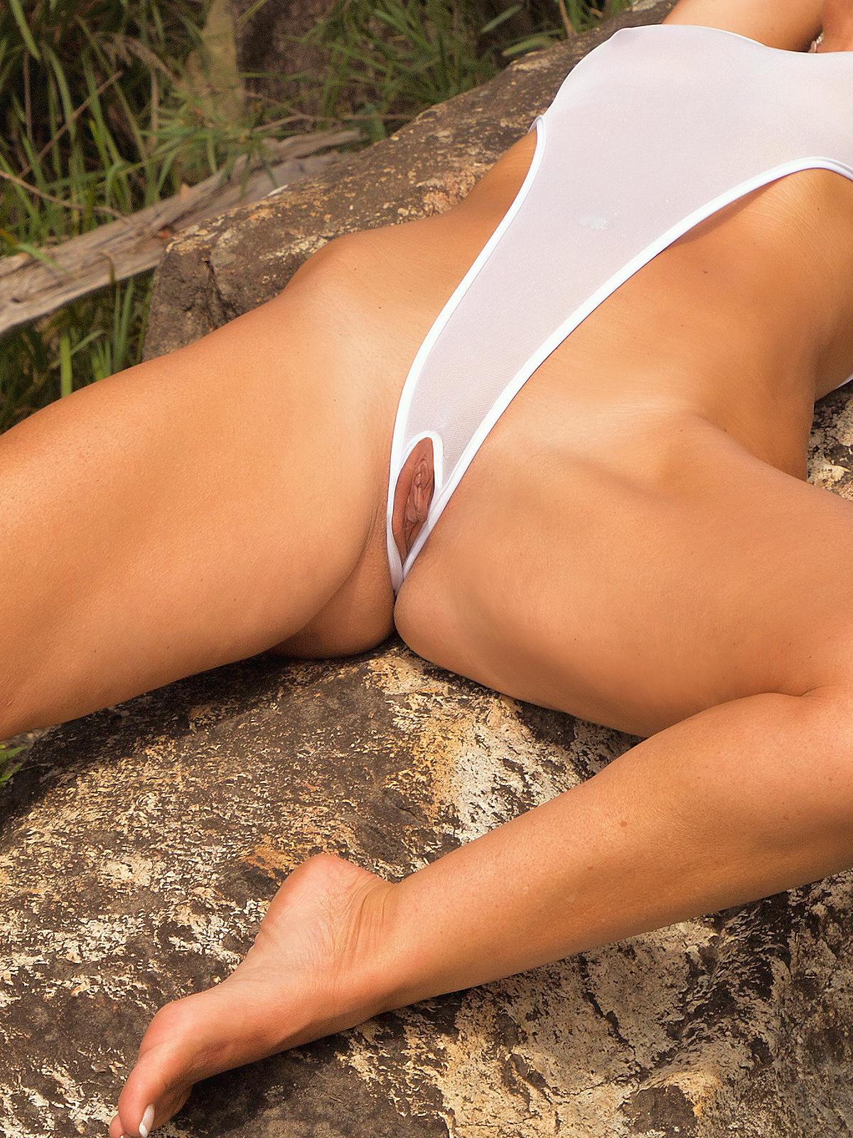 Micro bikini see thru onepiece video
